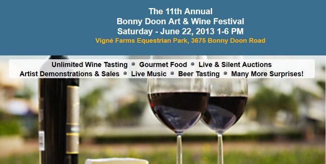 The 11th Annual Bonny Doon Art & Wine Festival Saturday – June 22, 2013 1-6 PM