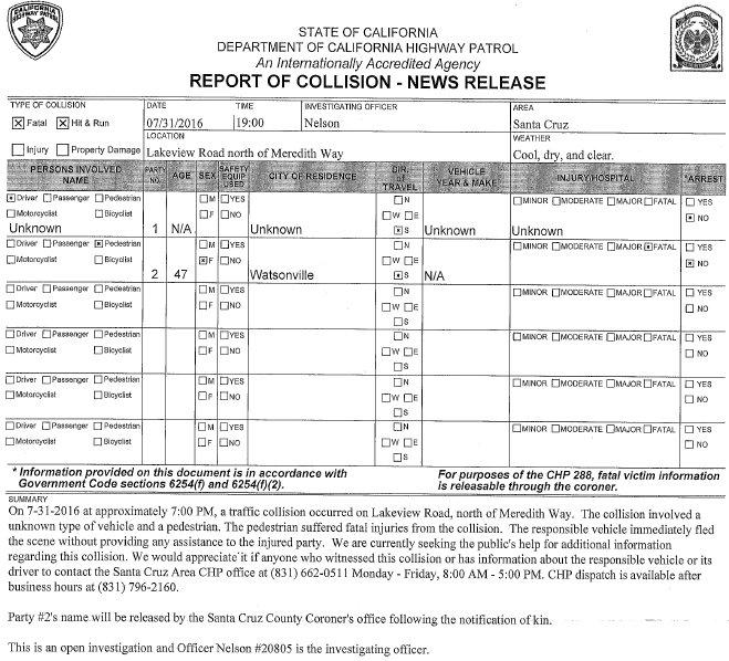 47 Year Old Watsonville Woman Killed In Fatal Hit & Run!  CHP Seeking Info!