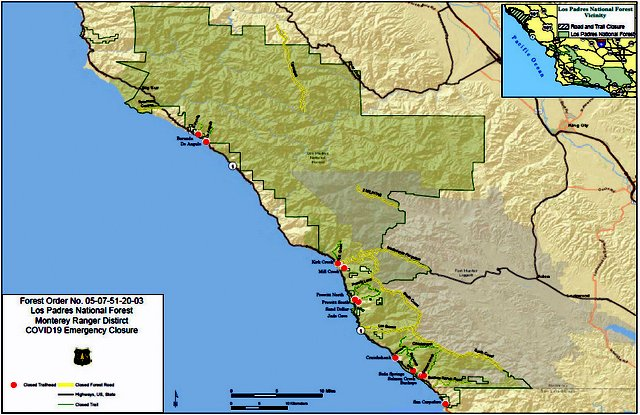 Los Padres closes Monterey Ranger District roads and trails to the public until June 1