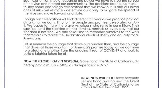 Governor Newsom Issues Proclamation Declaring Independence Day