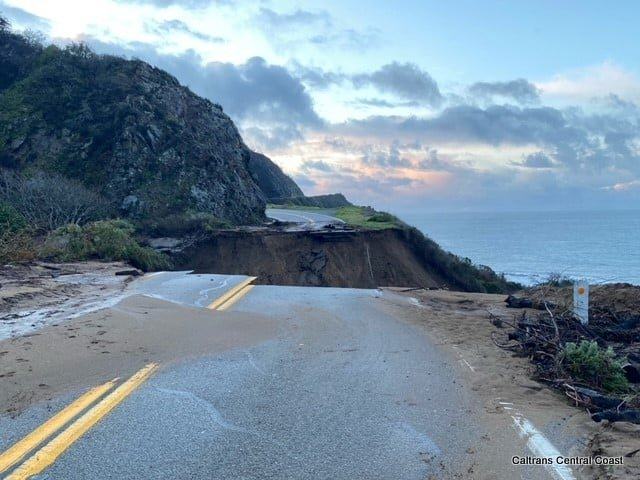 Section of Hwy 1 South of Big Sur Washes Away