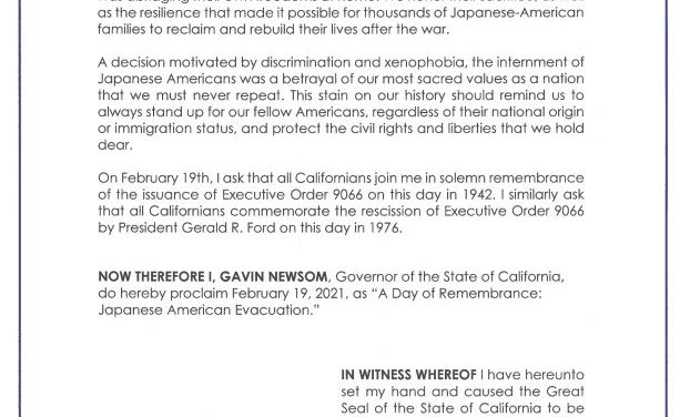 Governor Newsom Issues Proclamation Declaring A Day of Remembrance: Japanese American Evacuation