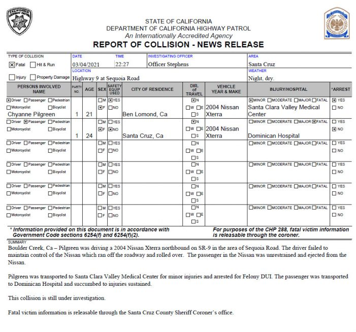 24 Year Old Santa Cruz Woman Loses Life in DUI Collision.  21 Year Old Driver Arrested