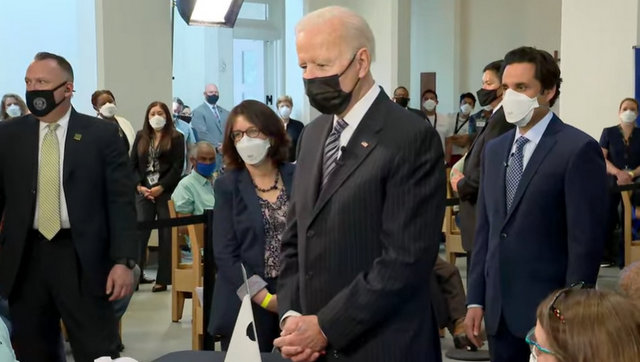 President Biden During Tour of Vaccination Site