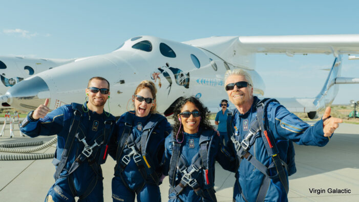 Virgin Galactic Successfully Completes First Fully Crewed Spaceflight with Sir Richard Branson Aboard