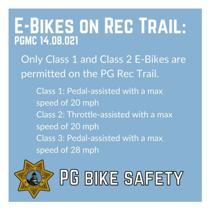 Pacific Grove Police Department on E-Bikes Allowed on Rec Trail